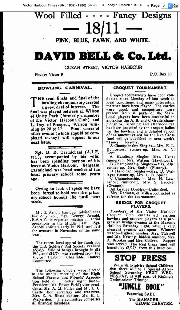 ARNOLD, George (RAAF 407760) The Times 19 Mar 1943, F_Sgt George ARNOLD missing