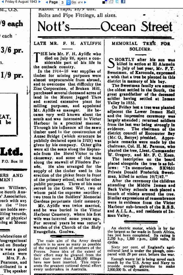 AYLIFFE, James Hamilton (Army 260) The Times 6 Aug 1943 Frank AYLIFFE deceased father of soldiers