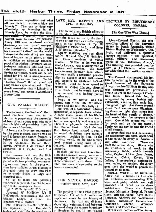 (2) BATTYE, Albert Wilkinson (S_N 3020) Times article 2 Nov 1917