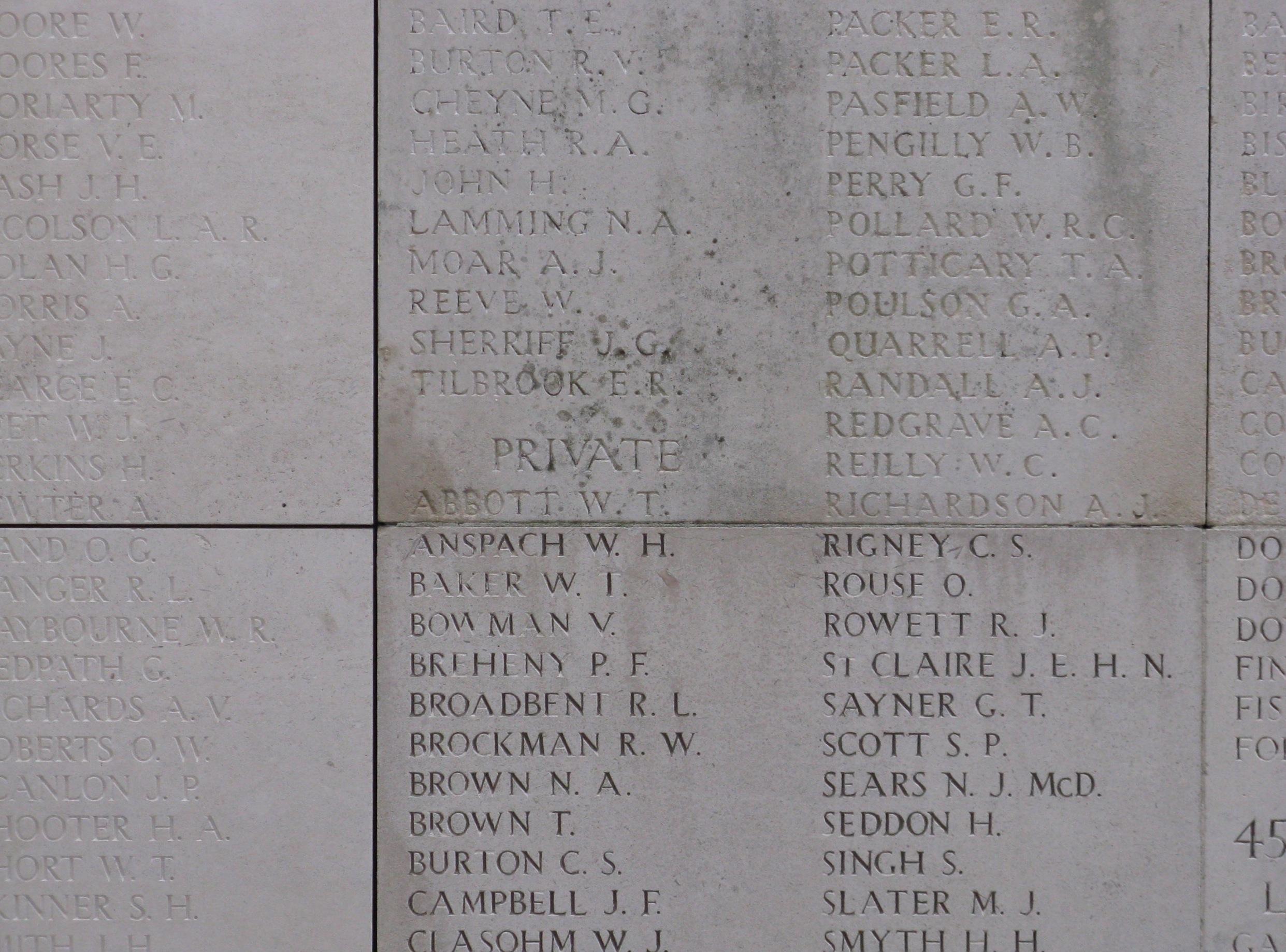 (4) BROADBENT, Ralph Leslie (s_no 2037) inscription on Menin Gate Memorial