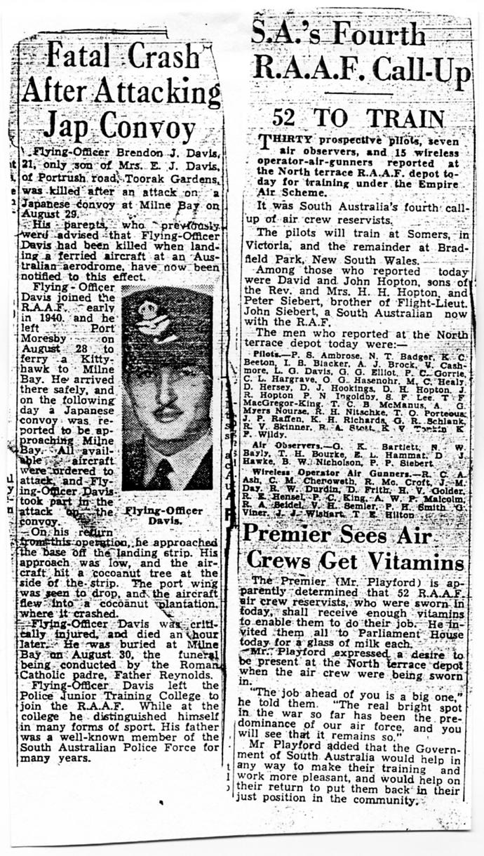 (6) DAVIS, Brendan John (RAAF 407225), news cutting