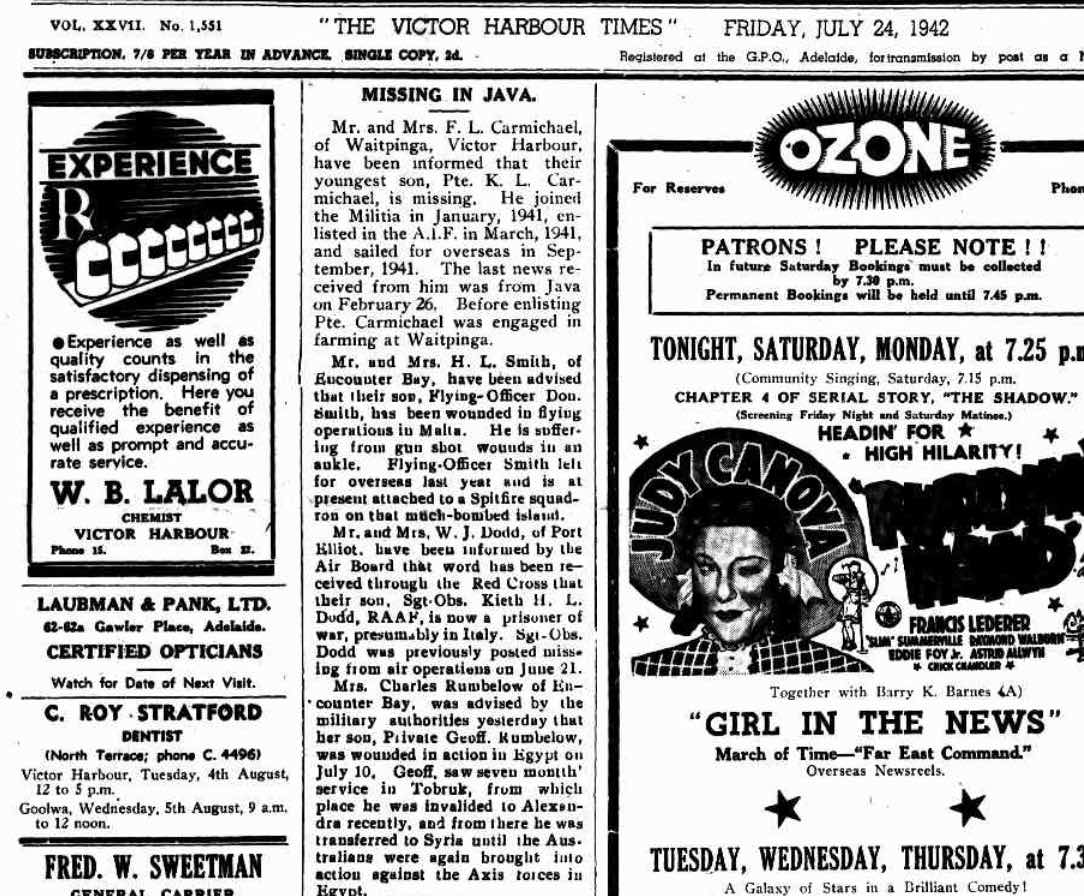 (2) CARMICHAEL, Kenneth Laurence (SX11961), The Times 24 Jul 1942