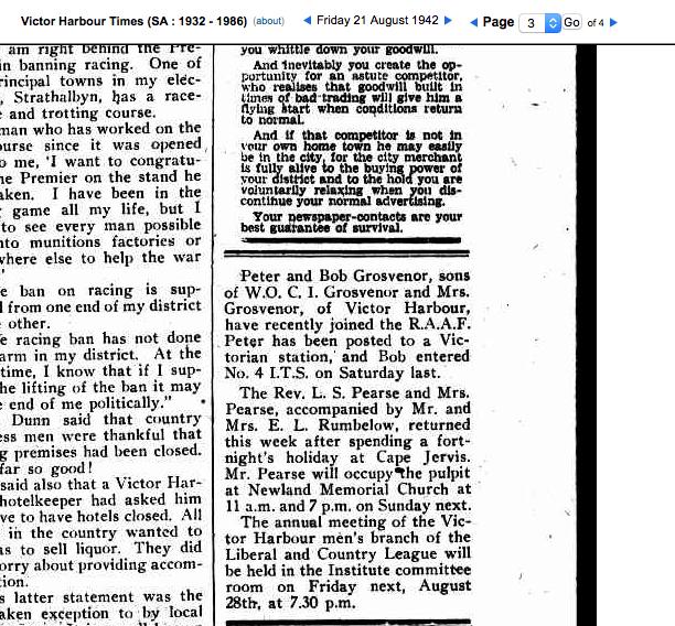 (3) GROSVENOR, Robert Archer (RAAF 417954), The Times 24 Aug 1942 copy