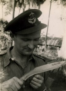 (3) HAMMAT, Edwin Laurence (RAAF 407193), in India holding knife