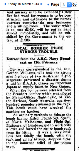 (3) NIGHTINGALE, Kevin (RAAF 407064), The Times 10 Mar 1944 bomb hung up copy