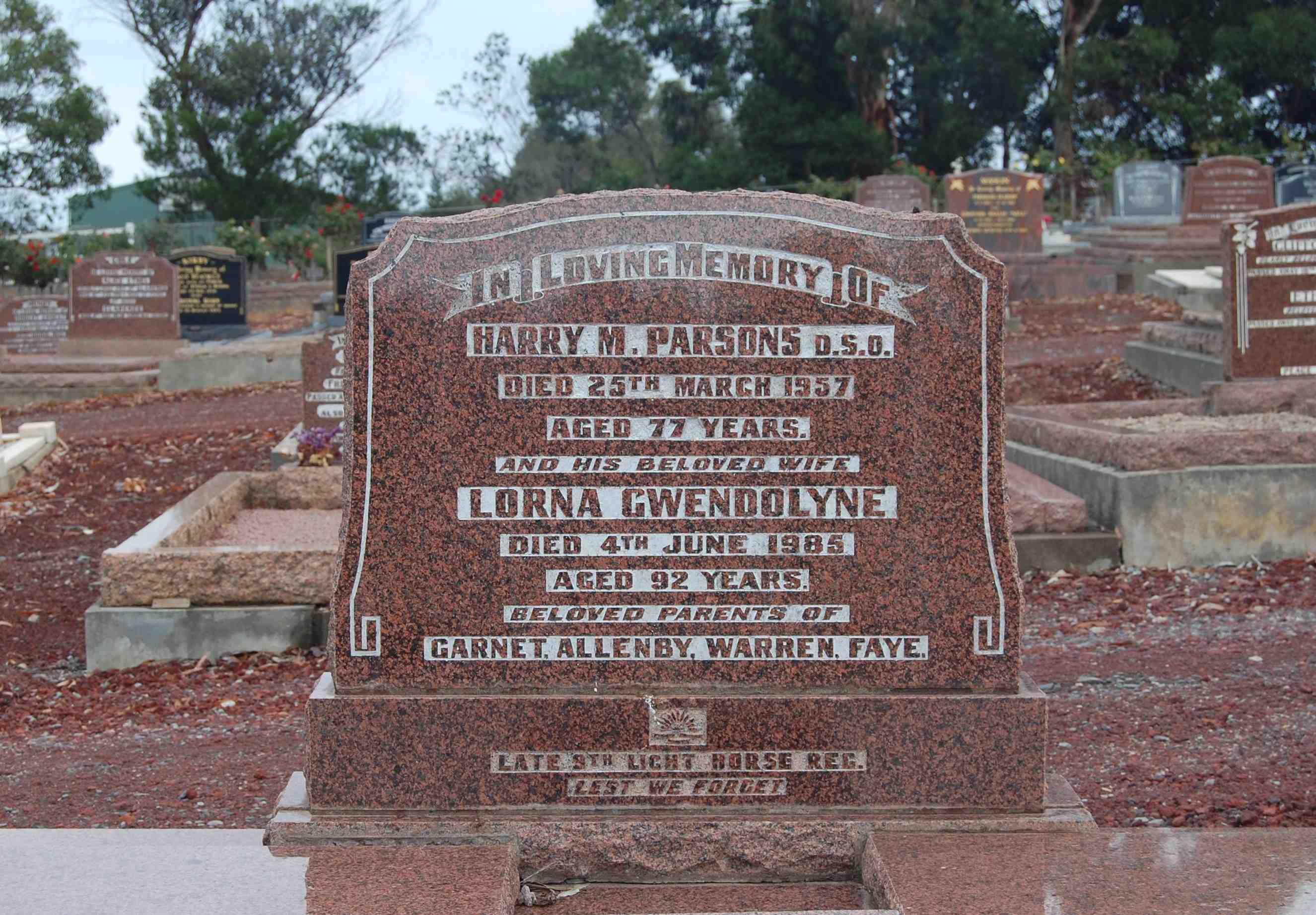 (3) PARSONS, Harry Meshach (Major), grave