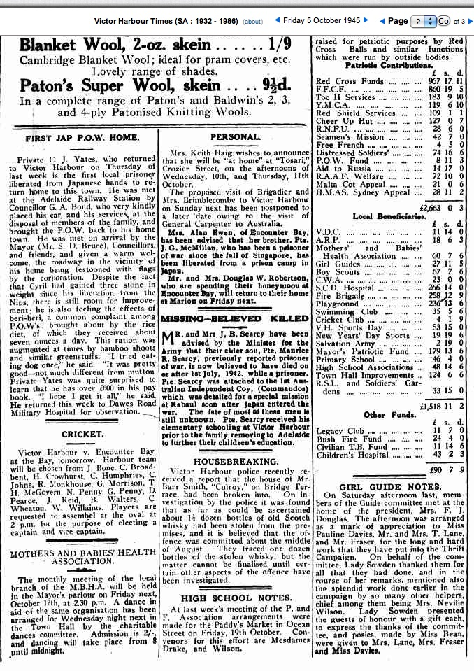 (4) SEARCY, Maurice Roffe (SX10212), The Times 5 Oct 1945 copy