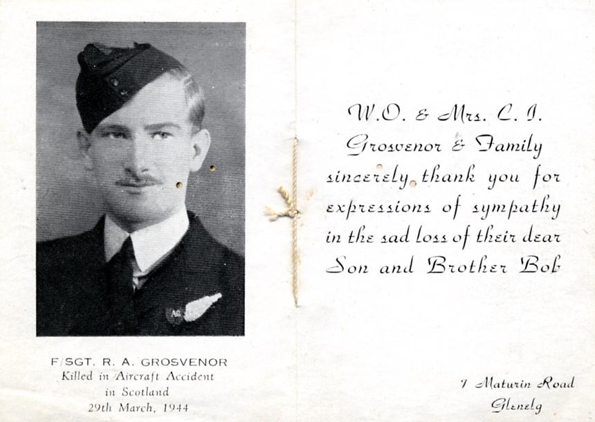 (5) GROSVENOR, Robert Archer (RAAF 417954), Return Thanks card