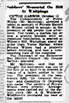 (5) WILSON, Harold Reginald (SX313), Advertiser 13 Oct 1941, page 9