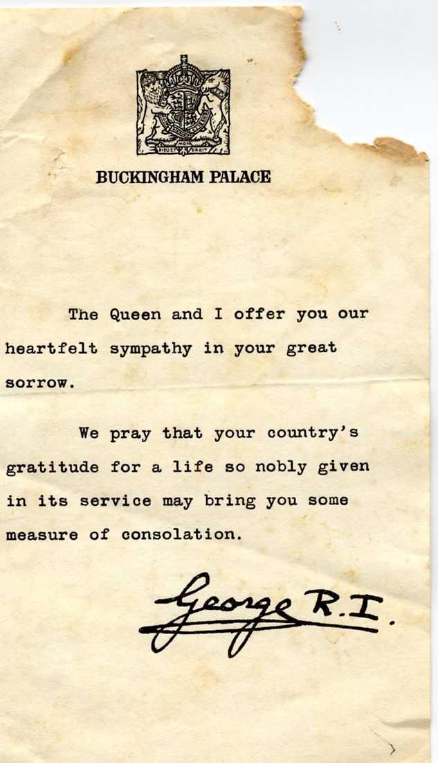 (6) GROSVENOR, Robert Archer (RAAF 417954), King's letter