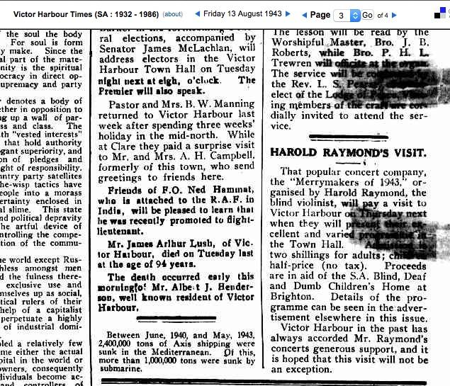 (7) The Times 13 Aug 1943 Ned HAMMATT promoted copy