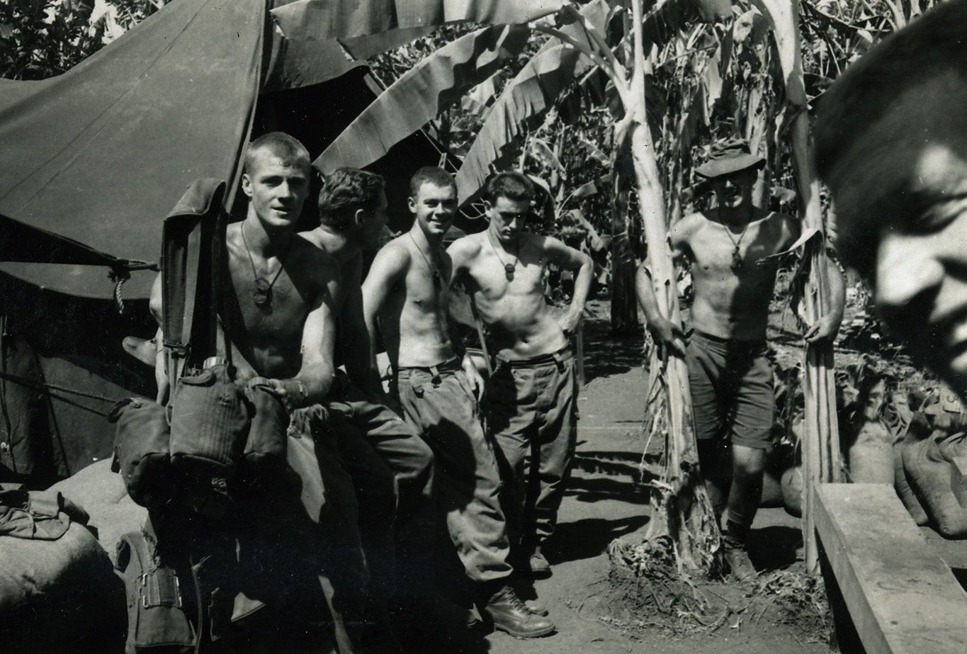 (8) MILLER, David John (Army 4718833), relaxing in 10 Platoon lines