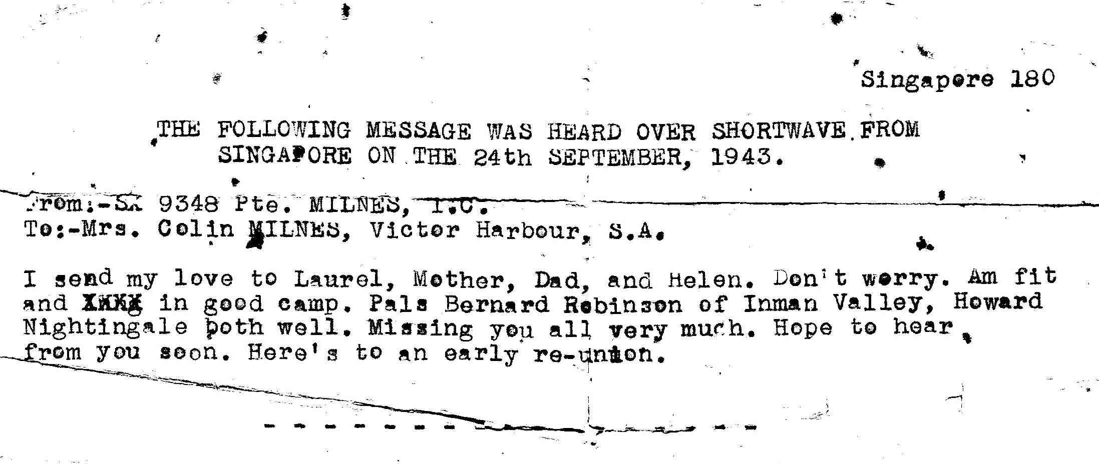 (8) NIGHTINGALE, Howard (SX9755), Radio message 1943 ex Colin Milnes