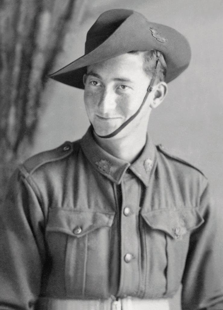 Studio portrait of S56414 Pte Lenard George BROWN, taken May 1943, when Len was still a member of the CMF. The photographer was Dimond Studios of Strathalbyn. From the collection of the late Len BROWN.