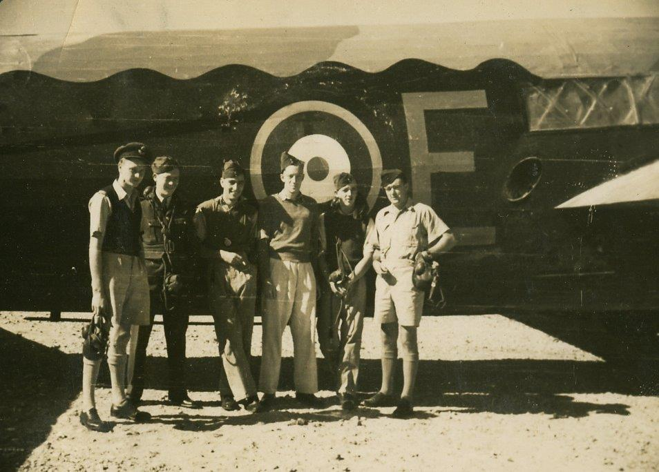 Bill CARROLL is pictured with his crew at 37 RAF Squadron, RAF Shallufa, Egypt; Bill is on the right. Unfortunately the other members of screw are not named.