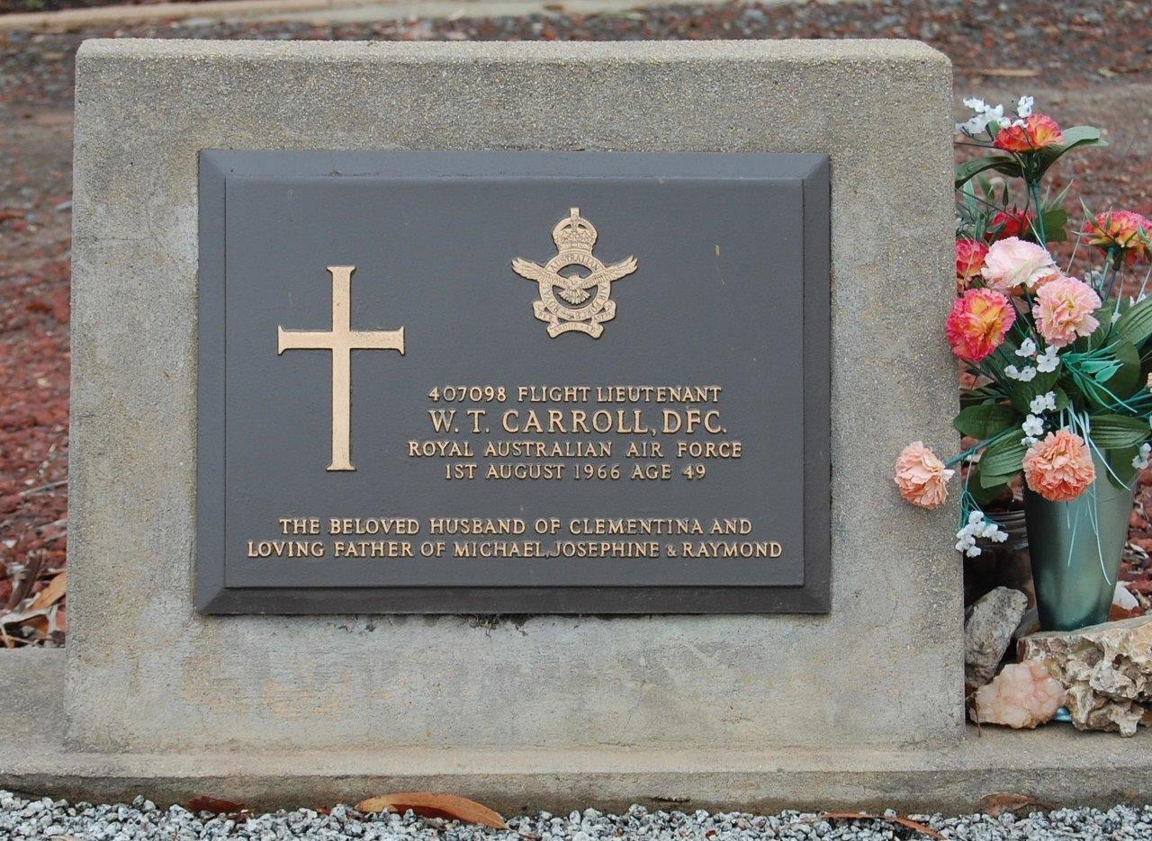Photograph of the grave plaque for William Thomas CARROLL DFC in the Victor Harbor Cemetery, this photograpg was taken by Victor Harbor RSL History Research Team member Ian MILNES on 7 March 2010.