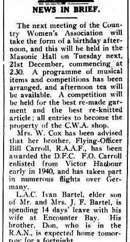 Extract from The Victor Harbor Times' edition of 17 December 1943;  from Trove Newspapers ( https://trove.nla.gov.au/newspaper/title/832 ).