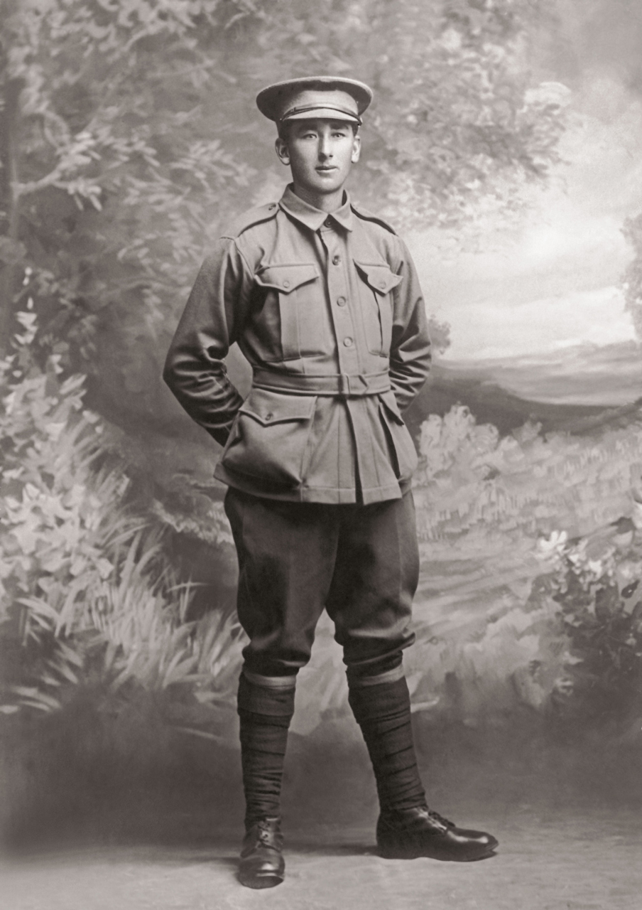 Studio portrait of Pte Frank Harris RUMBELOW, the photographer is unknown; from the family collection of Peter RUMBELOW,a nephew of PTE RUMBELOW.