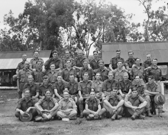 Australian War Memorial Collection no 08788; this is a group portrait of the men of No 14 Platoon, C Company of the 2/48th Infantry Battalion taken at Ravenshoe, North Queensland. Len NEATE is in the back row, second from the right.
