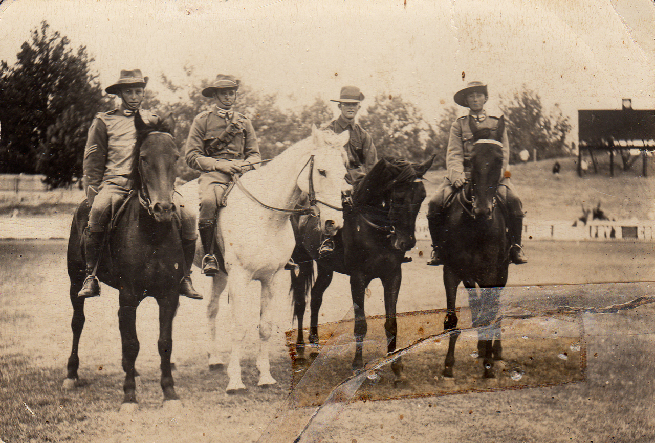 Trooper RUMBELOW is the soldier far right on his mount whilst on manoeuvres with the 22nd Light Horse Regiment; from the Peter RUMBELOW family collection.